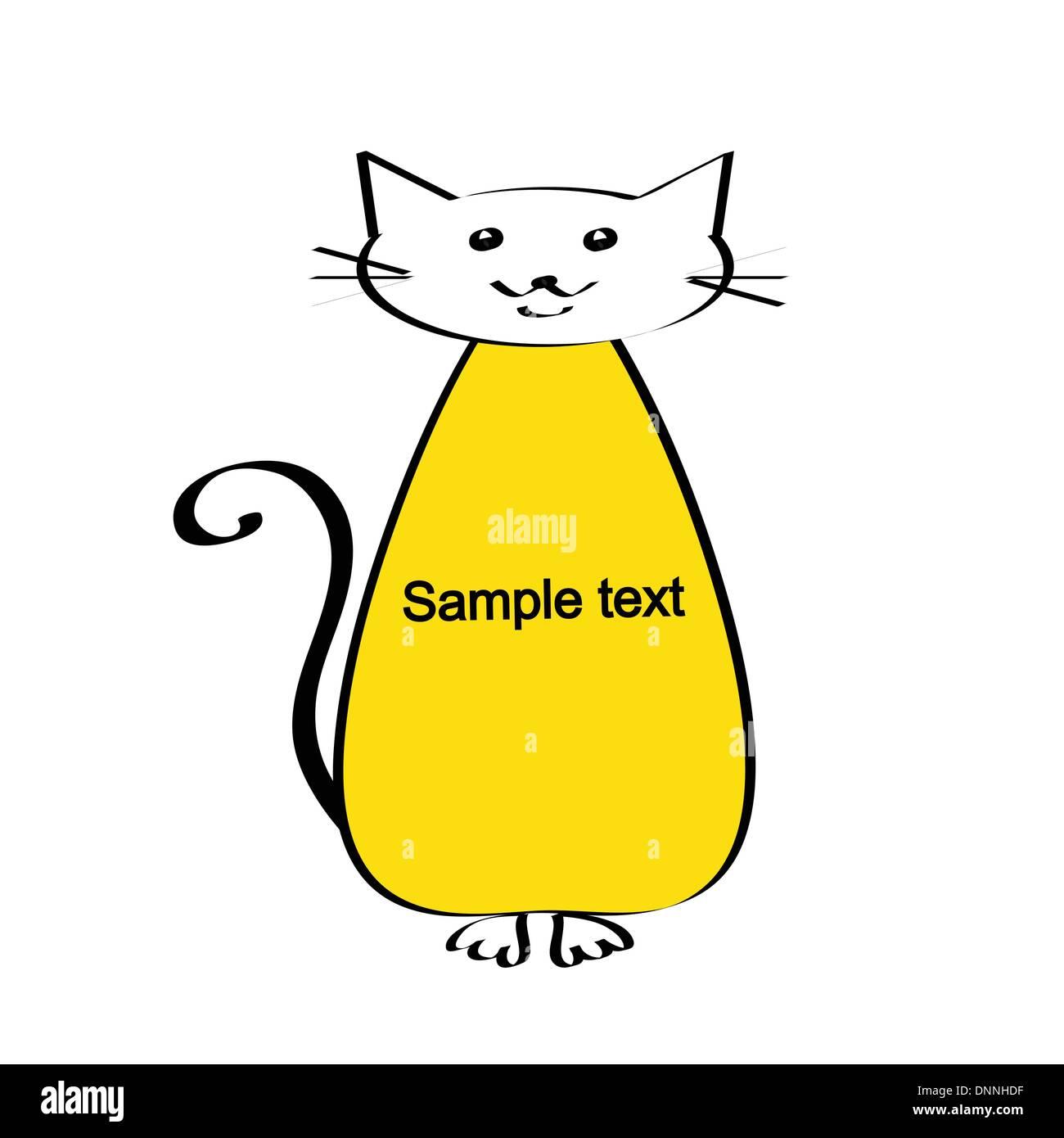 Lindo y simple kids frame muestra cat. Imagen De Stock