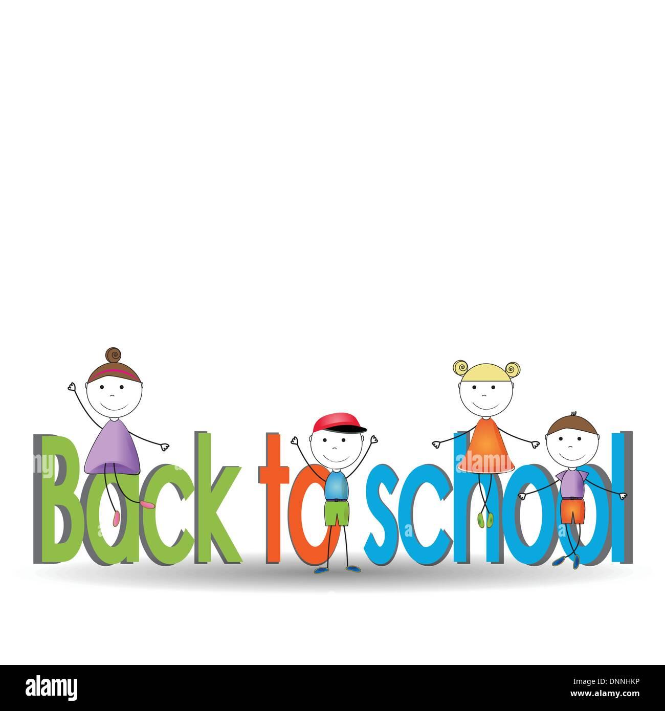 Lindo y Felices los niños vuelvan a la escuela Imagen De Stock