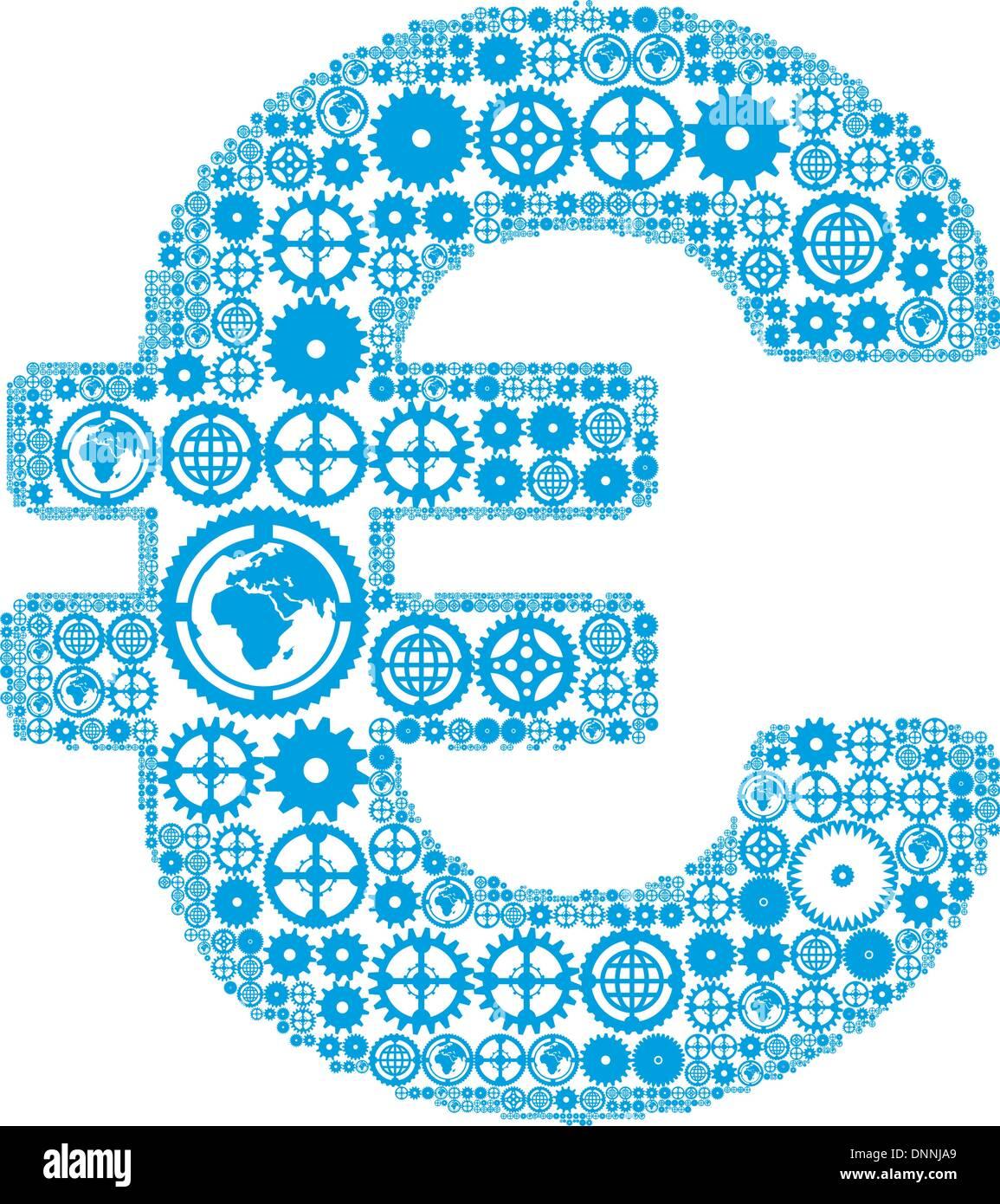 Signo del euro sobre un fondo blanco, hecha de engranajes. Ilustración vectorial Imagen De Stock