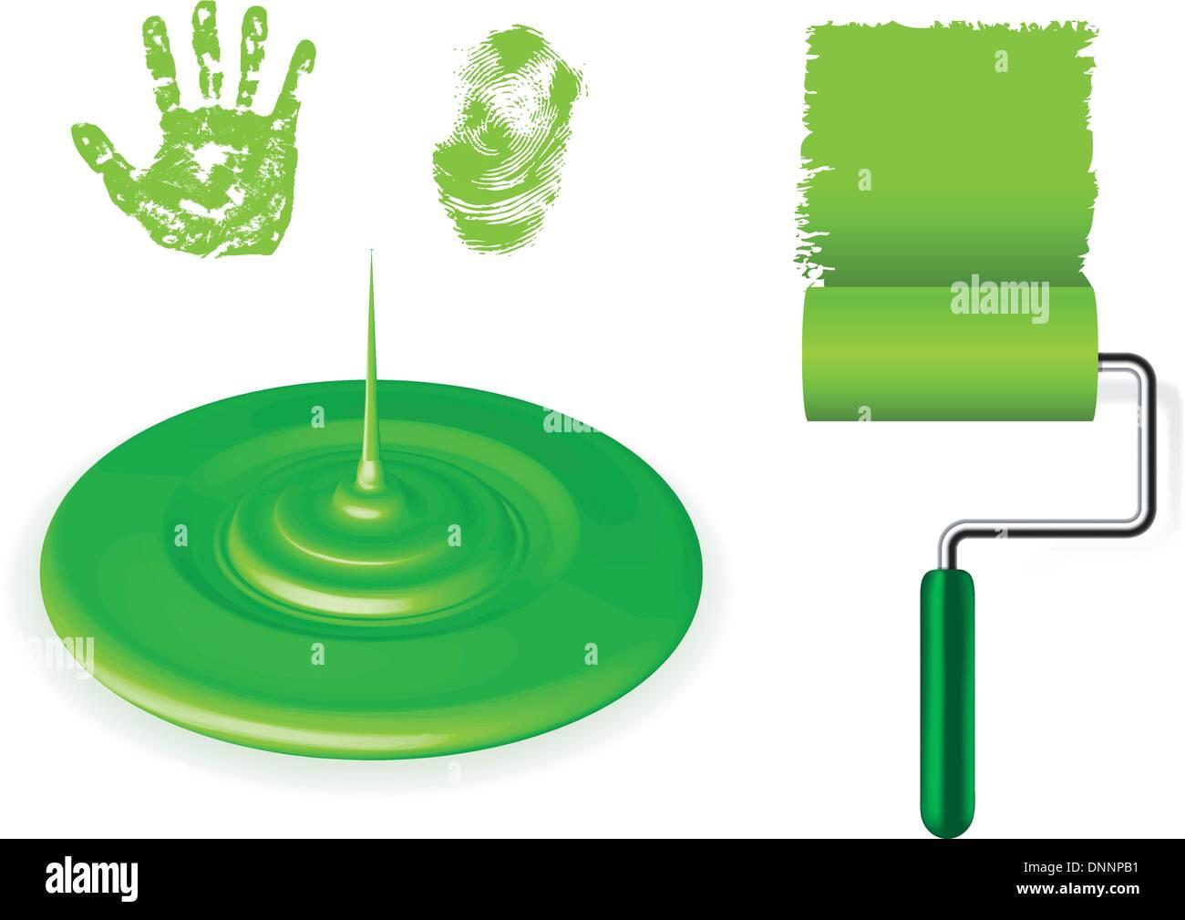 Cepillo de la pintura, el vertido y huellas verdes sobre fondo blanco. Imagen De Stock