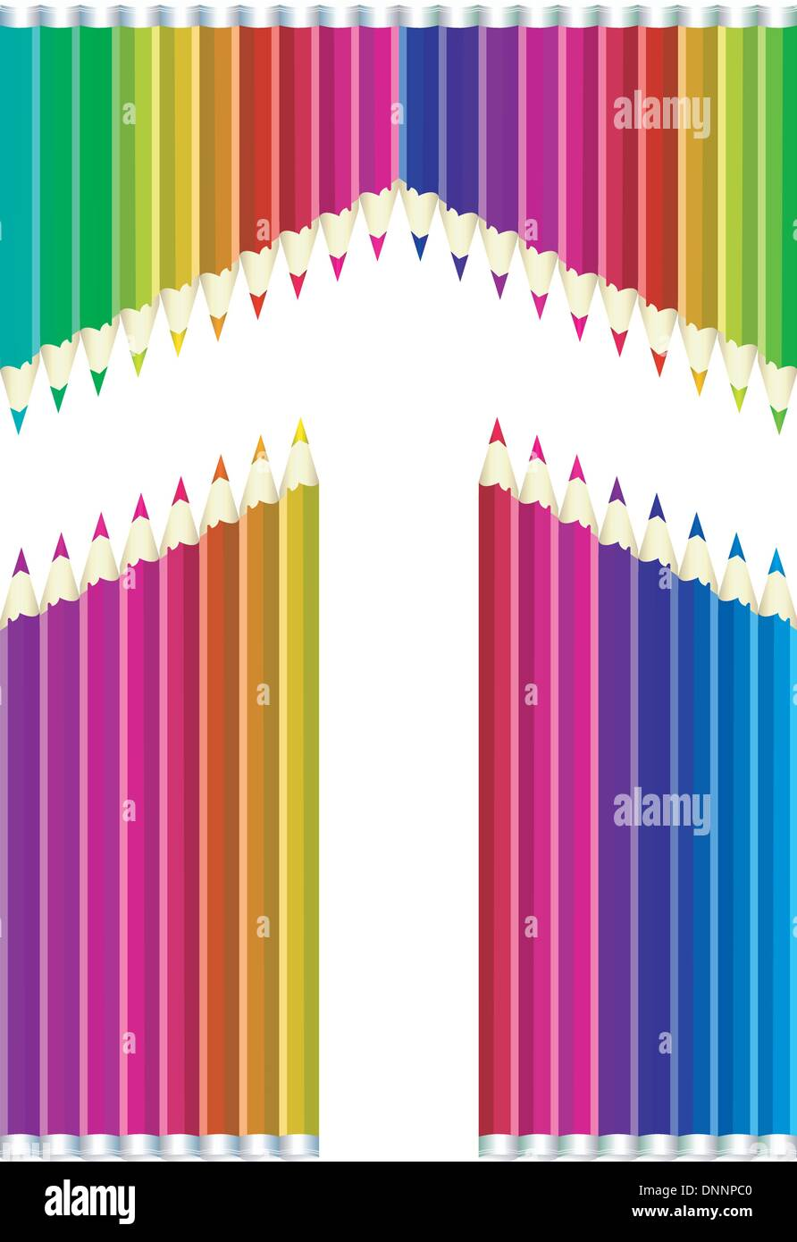 Flecha de vectorial lápices de colores sobre fondo blanco. Imagen De Stock