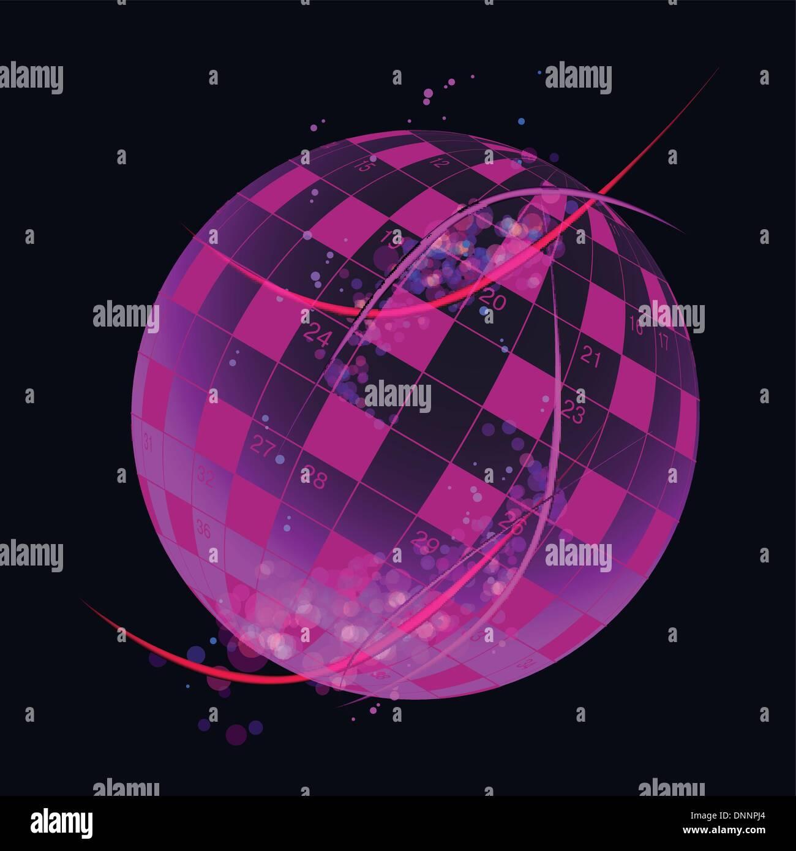 Un vector de crucigramas en blanco en la nota en forma globo terráqueo Imagen De Stock