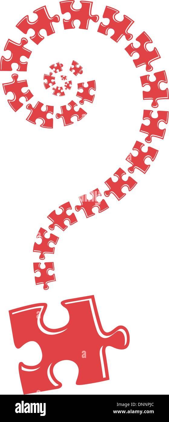 Interrogación de rompecabezas ilustración sobre fondo blanco. Imagen De Stock
