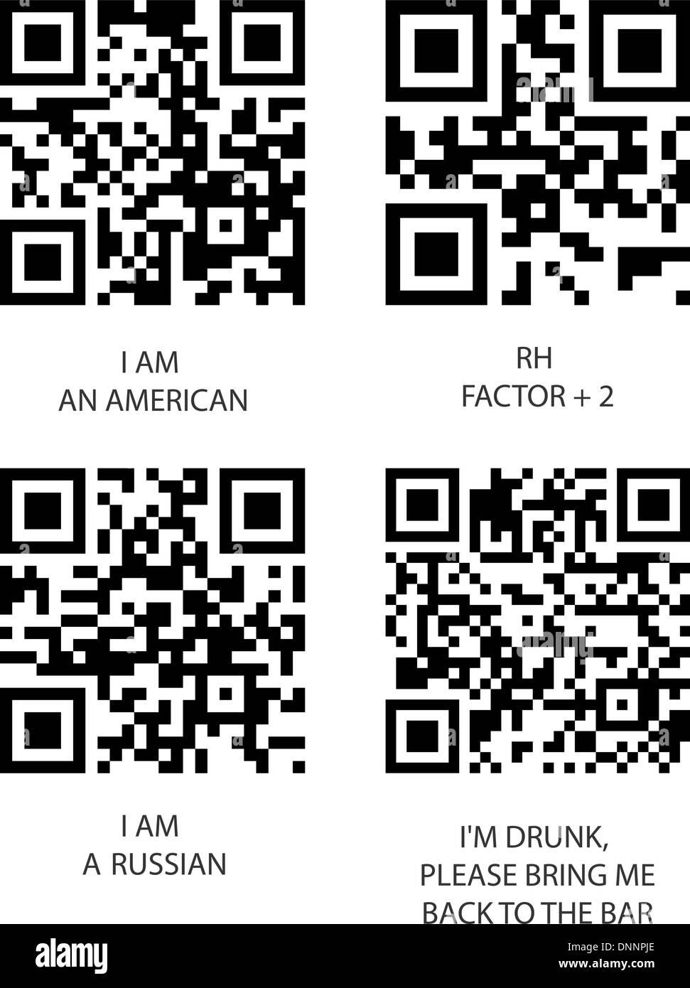 Código QR y bbm. Conjunto de vectores sobre fondo blanco. Imagen De Stock