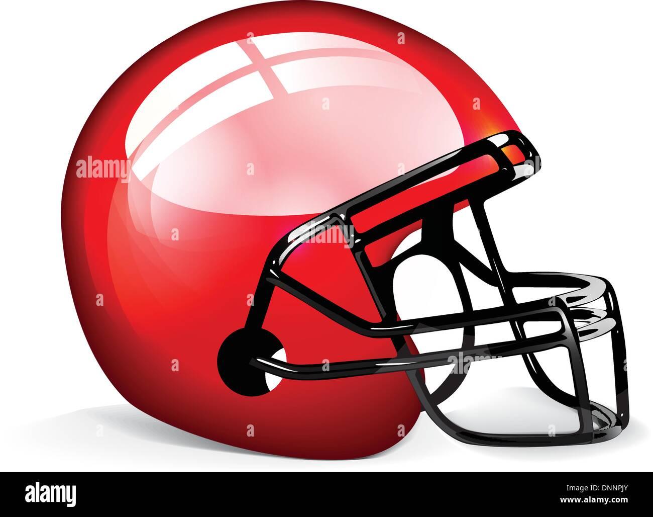 Casco de fútbol americano rojo aislado sobre fondo blanco. Imagen De Stock
