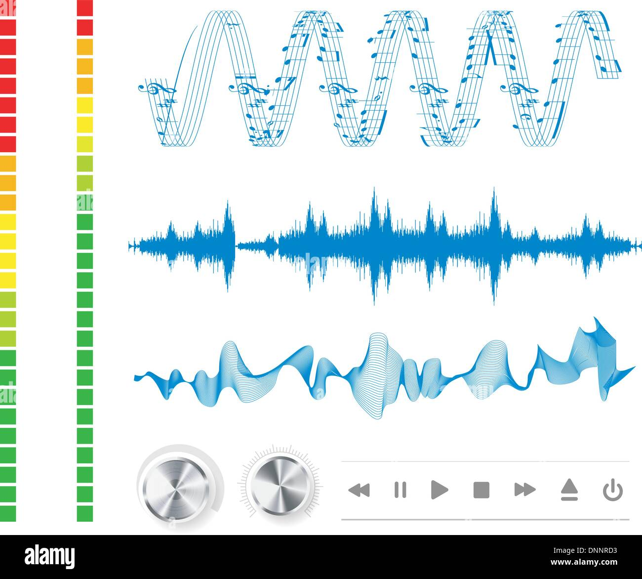 Notas, botones y ondas de sonido. La música de fondo. Imagen De Stock
