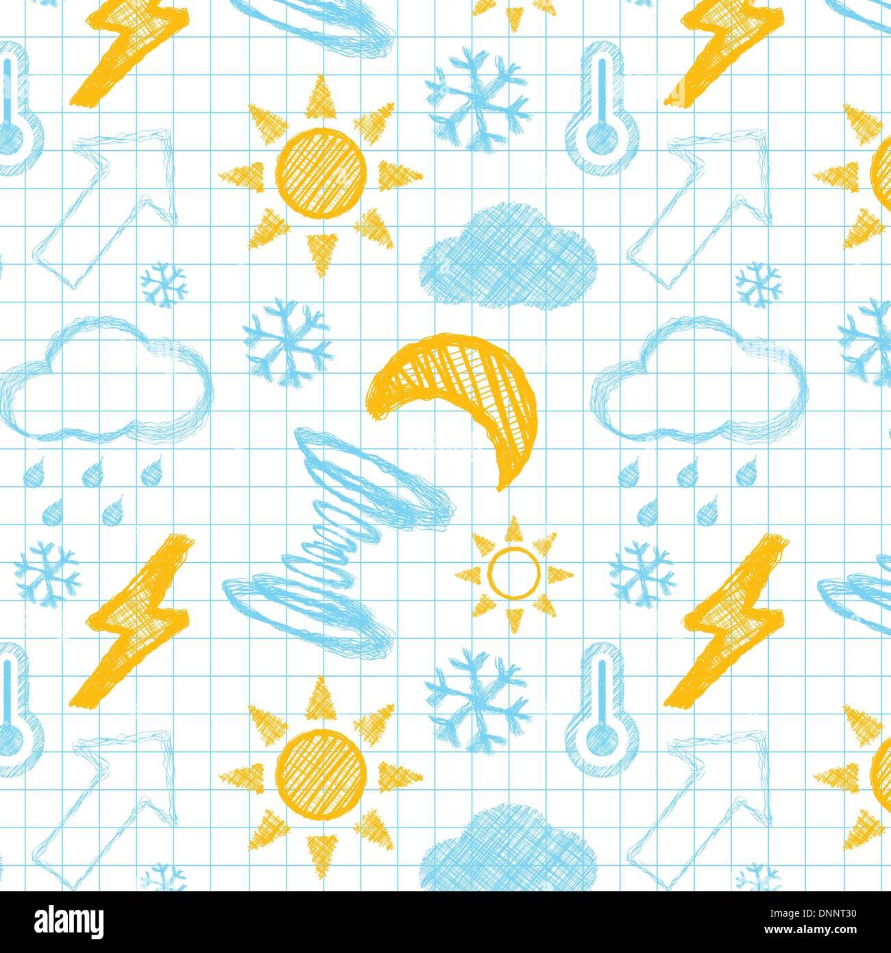 Tiempo patrón perfecta dibujada a mano. Ilustración Vectror Imagen De Stock