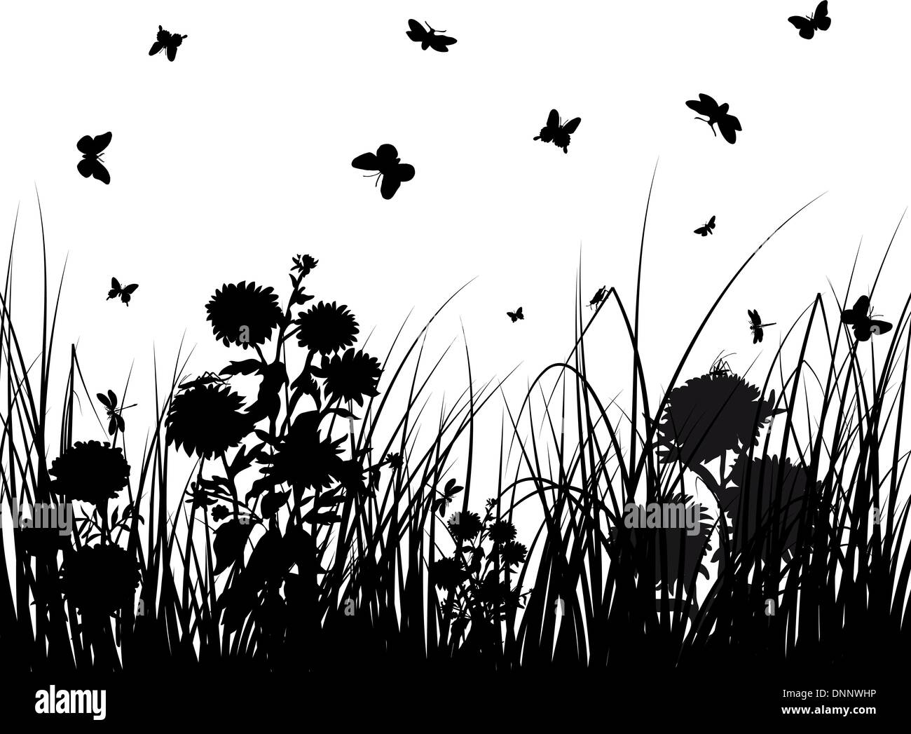 Antecedentes vectoriales siluetas de hierba con mariposasIlustración del Vector
