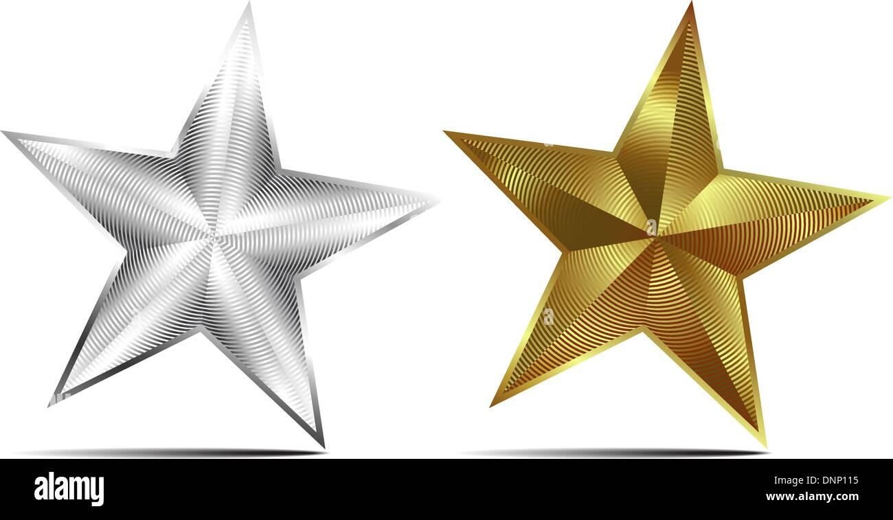 Oro y Plata estrellas vectoriales Imagen De Stock