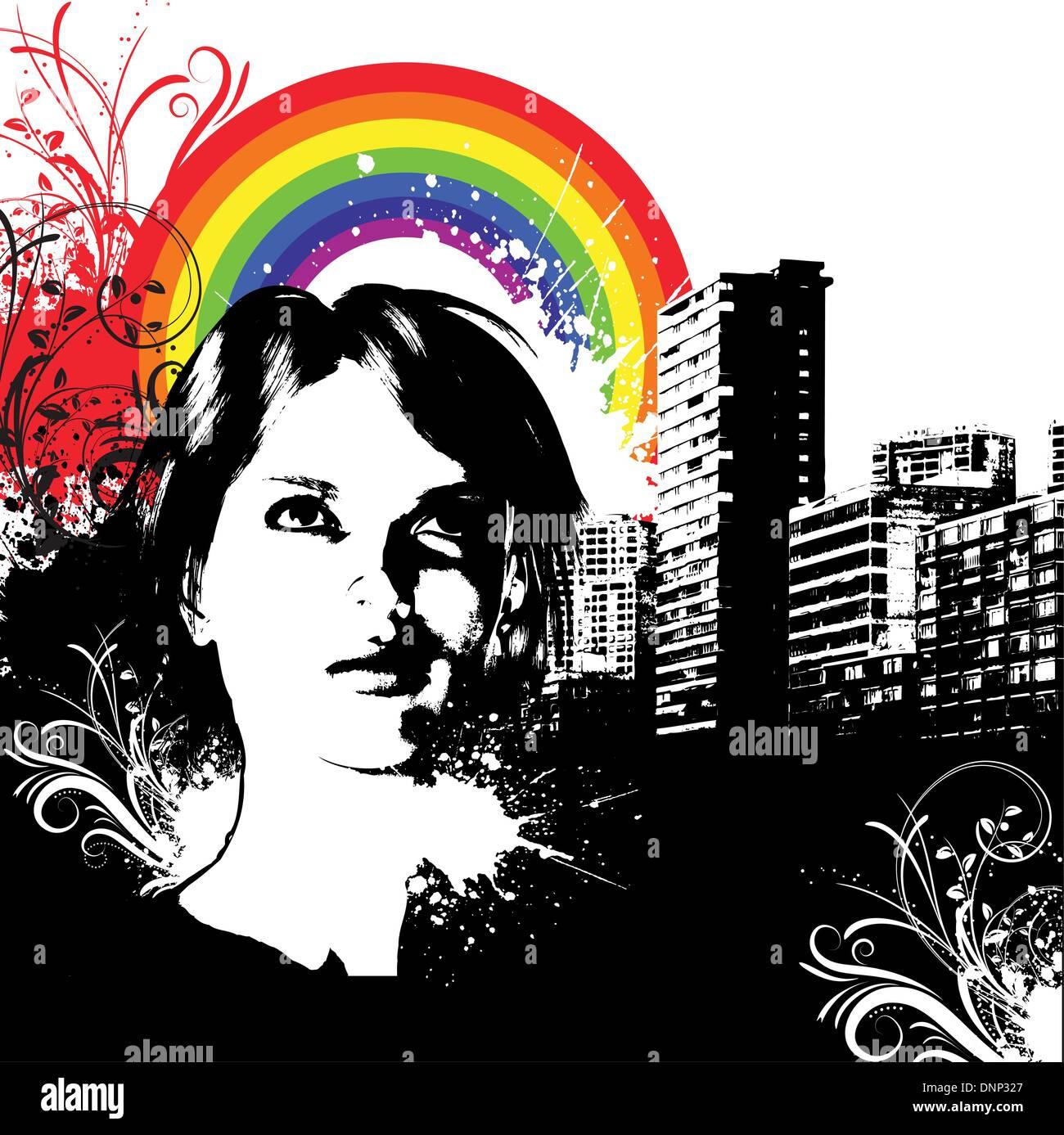 Rostro femenino en zonas urbanas Grunge antecedentes Imagen De Stock