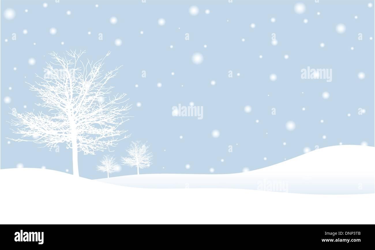 Árboles de invierno en una nevada noche Imagen De Stock