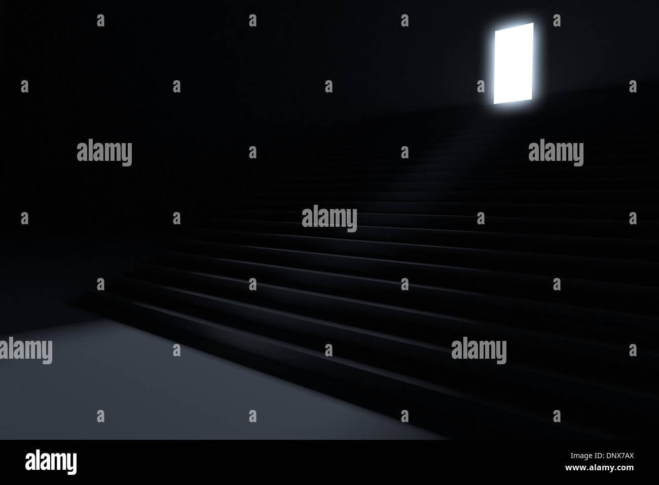 Pasos que conducen a la luz en la oscuridad Imagen De Stock