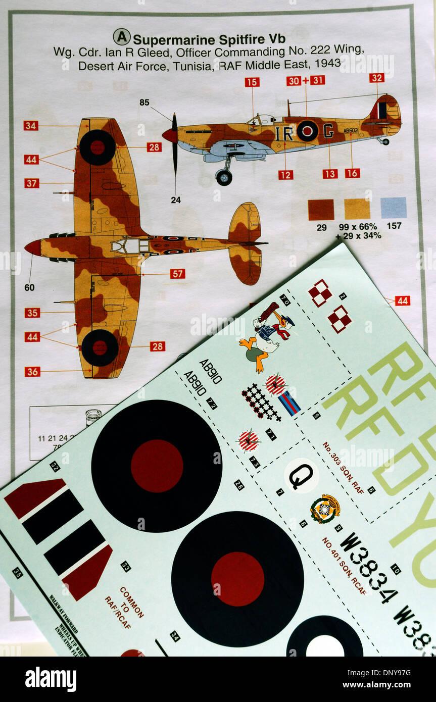 Kit de Airfix pintura instrucciones para el clásico de 1/24th scale Spitfire Imagen De Stock