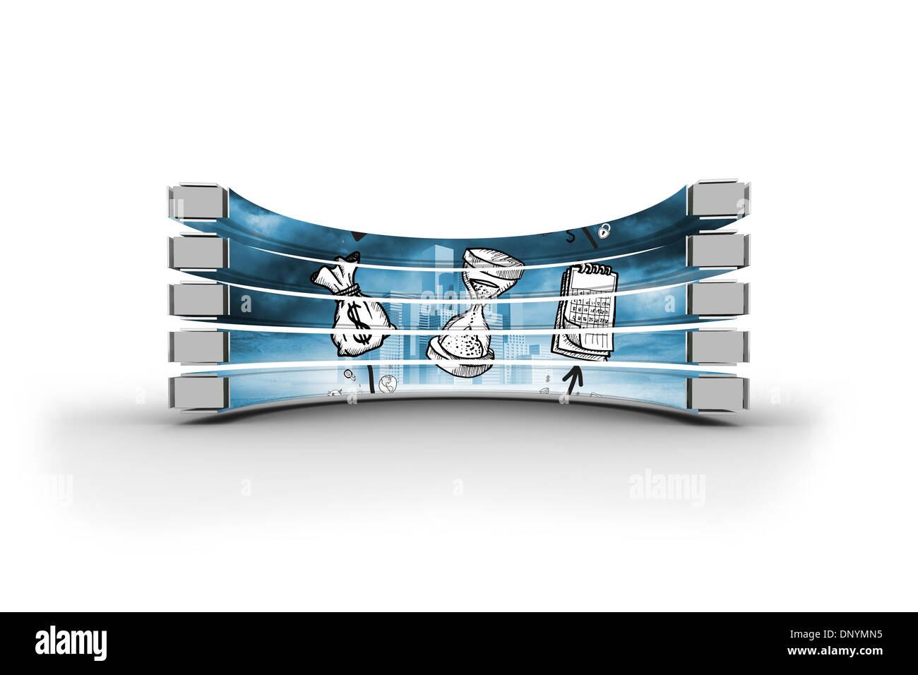 El tiempo y el concepto de beneficio en pantalla abstracto Imagen De Stock