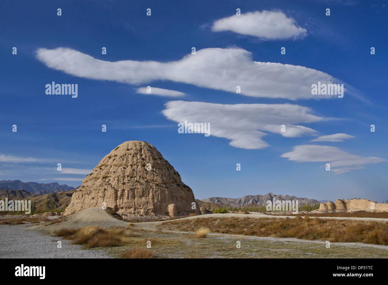 Western Xia tumbas tumba (nº 3), Gunzhongkou, provincia de Ningxia, China Foto de stock