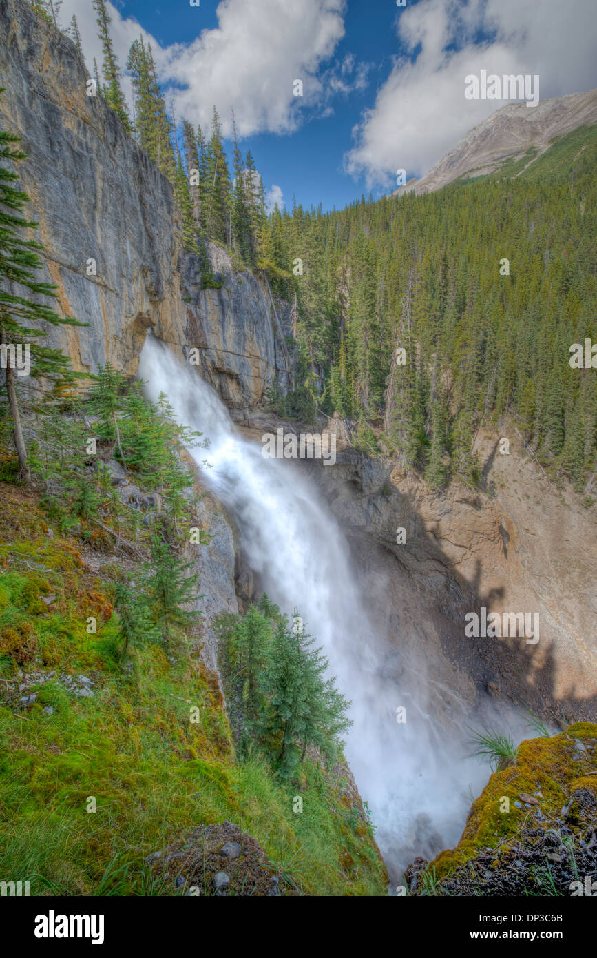 Panther Falls, Icefields Parkway, Alberta, Canadá, Canadian Rockies Foto de stock