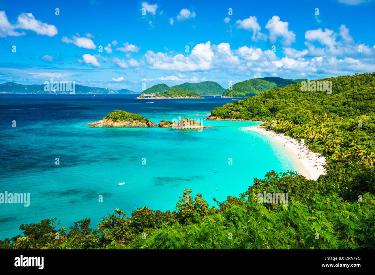Bahía Trunk, St John, Islas Vírgenes de los Estados Unidos. Imagen De Stock