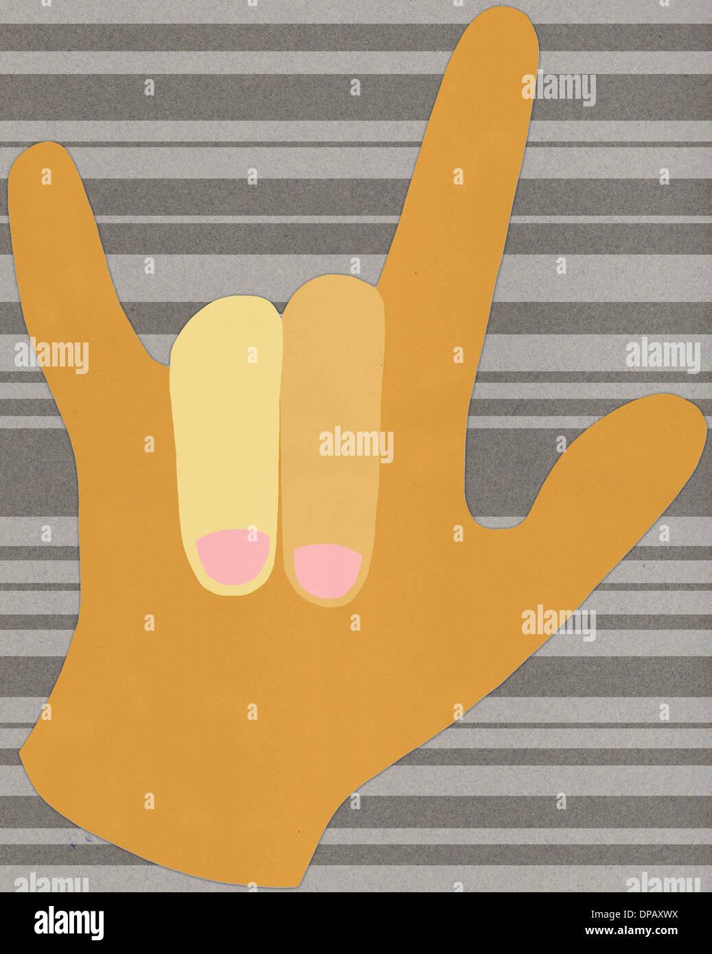 """Una mano sujetando un """"I love you"""" signo Foto de stock"""
