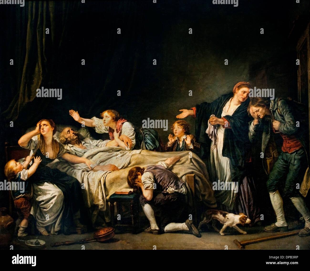 Maldición paterna hijo castigado 1778 Jean Baptiste Greuze 1725 -1805 Francia Imagen De Stock