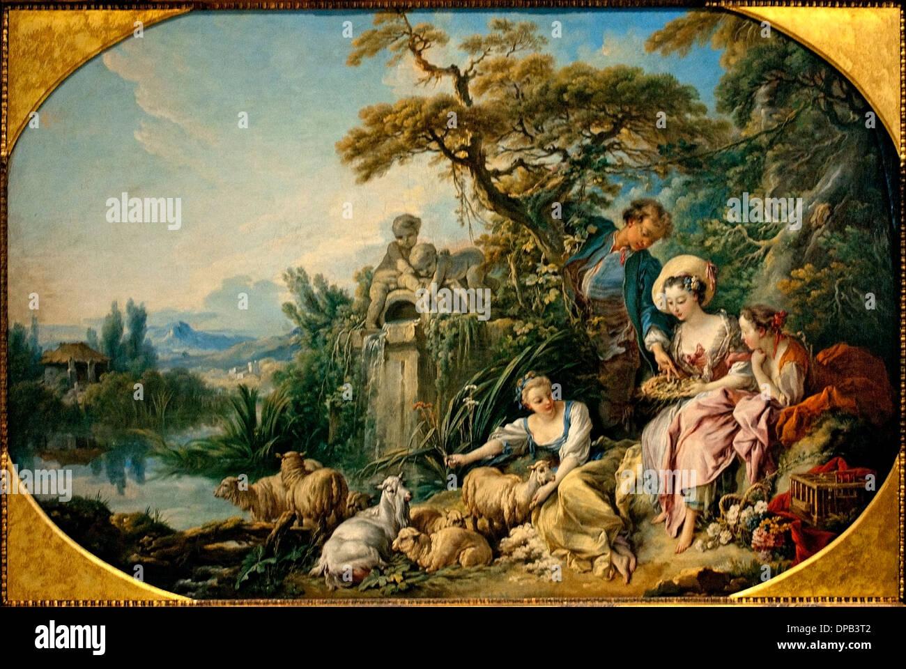 Anidar también dijeron presente Pastor 1740 François Boucher, 1703 - 1770 Francia Imagen De Stock