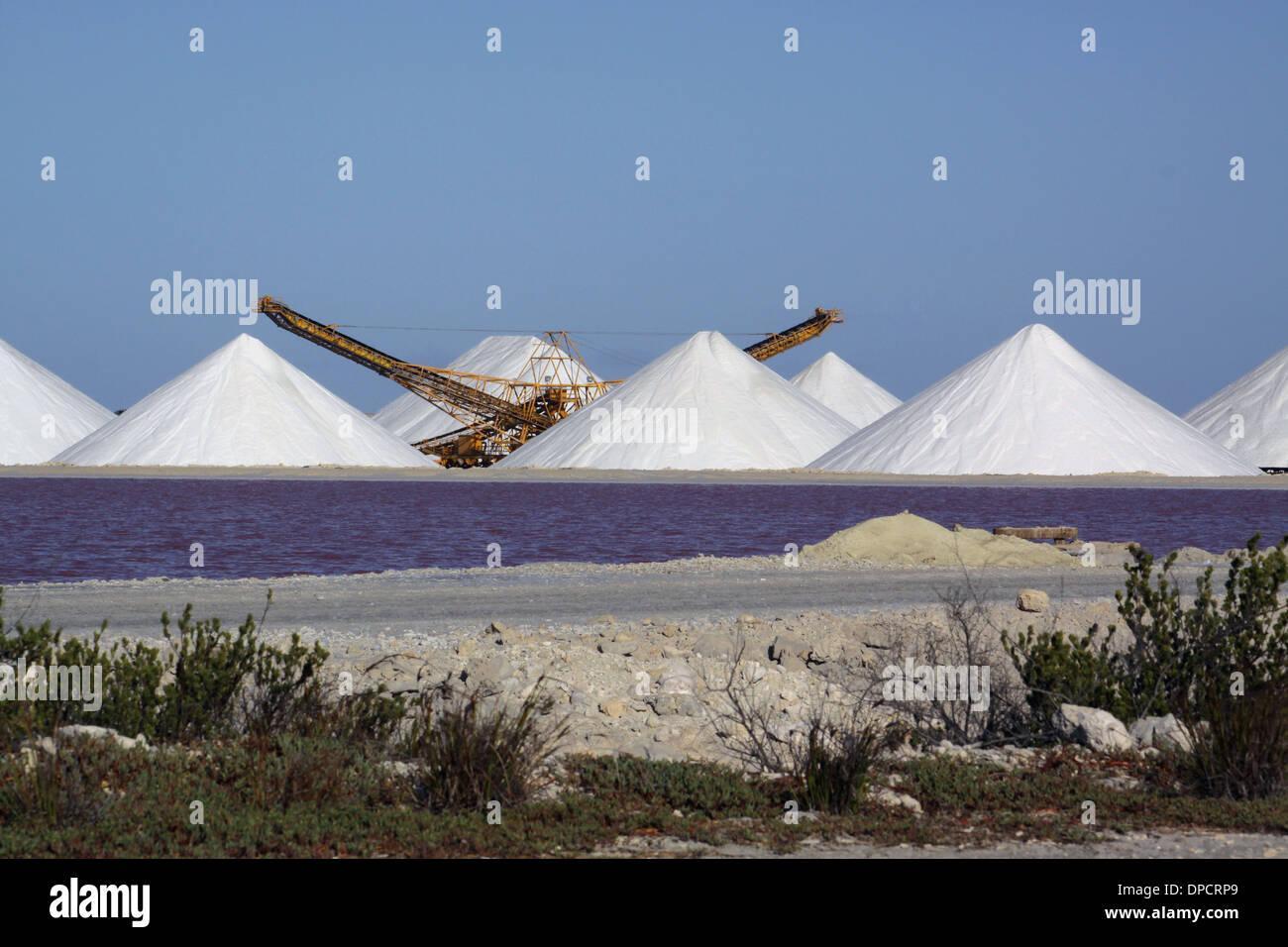 Montones de Sal en el funcionamiento de sal en la isla de Bonaire. Los lagos de sal rosa puede ser visto delante de los montones de sal Imagen De Stock