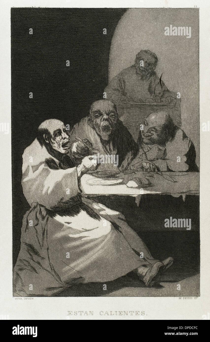 Francisco de Goya (1746-1828). Los Caprichos. Estan calientes (están calientes). El número 13. Aguatinta. Imagen De Stock
