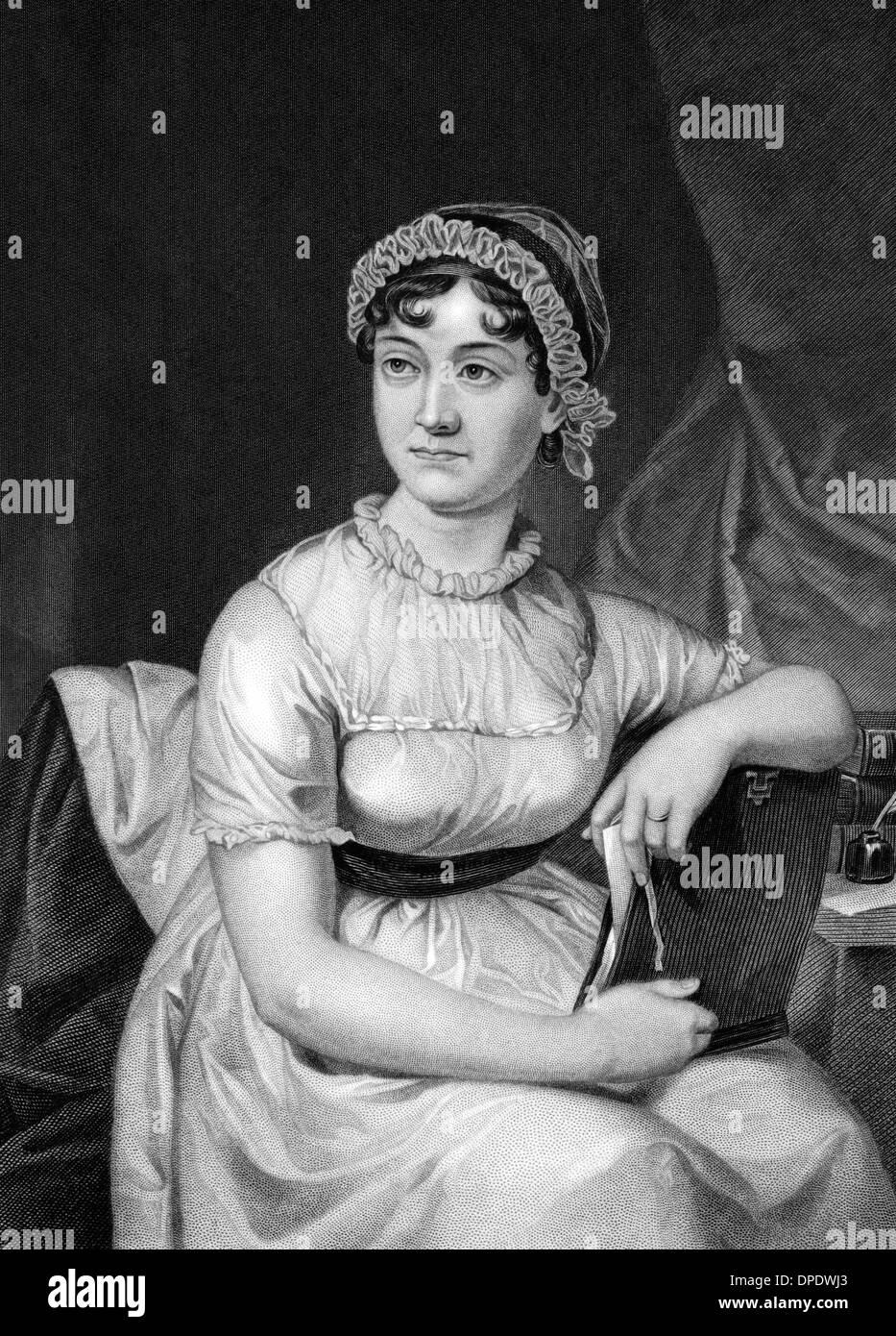 Jane Austen (1775-1817) sobre el grabado desde 1873. Novelista inglés. Imagen De Stock