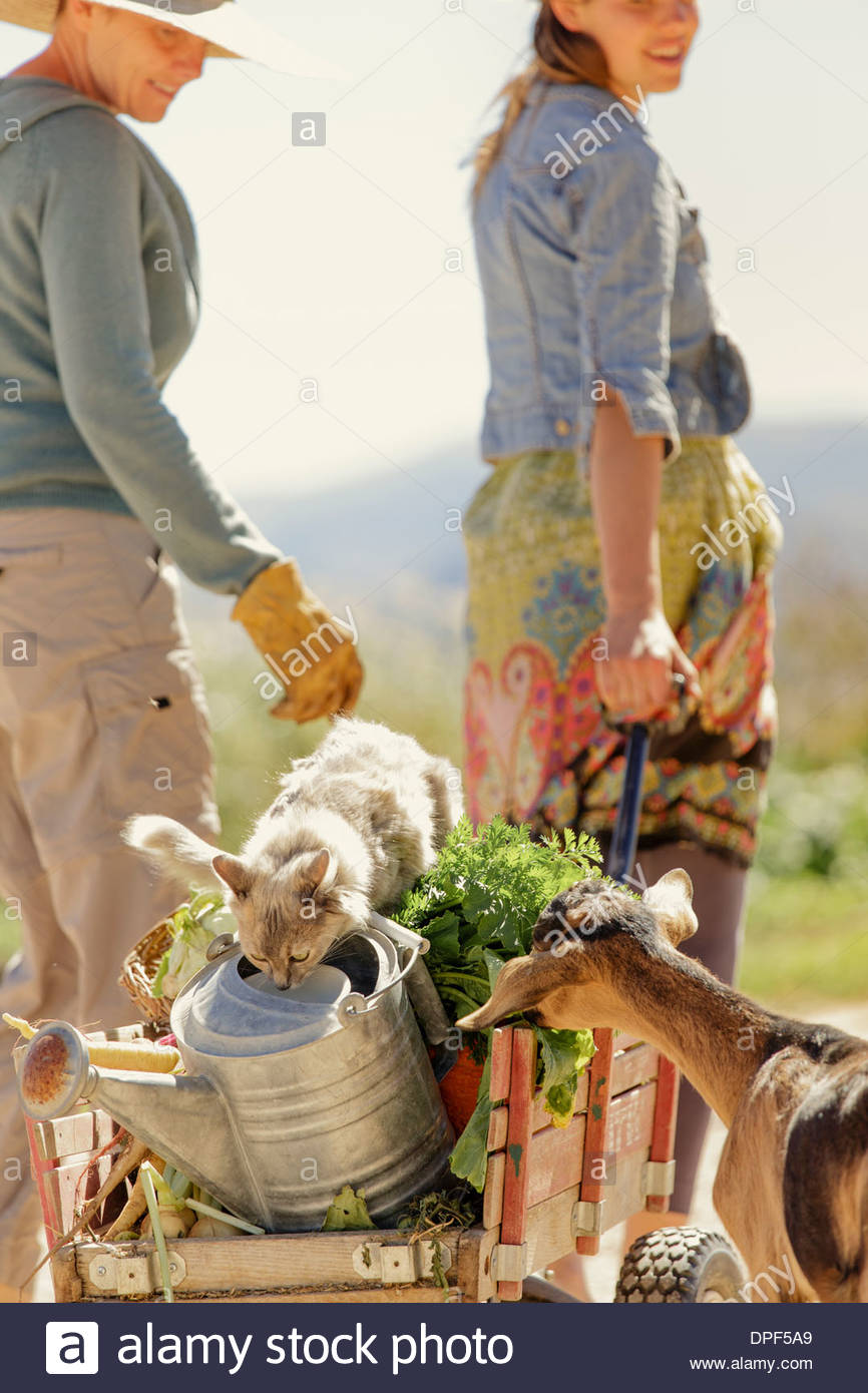 Madre e hija tirando de la granja en carreta de mano Imagen De Stock