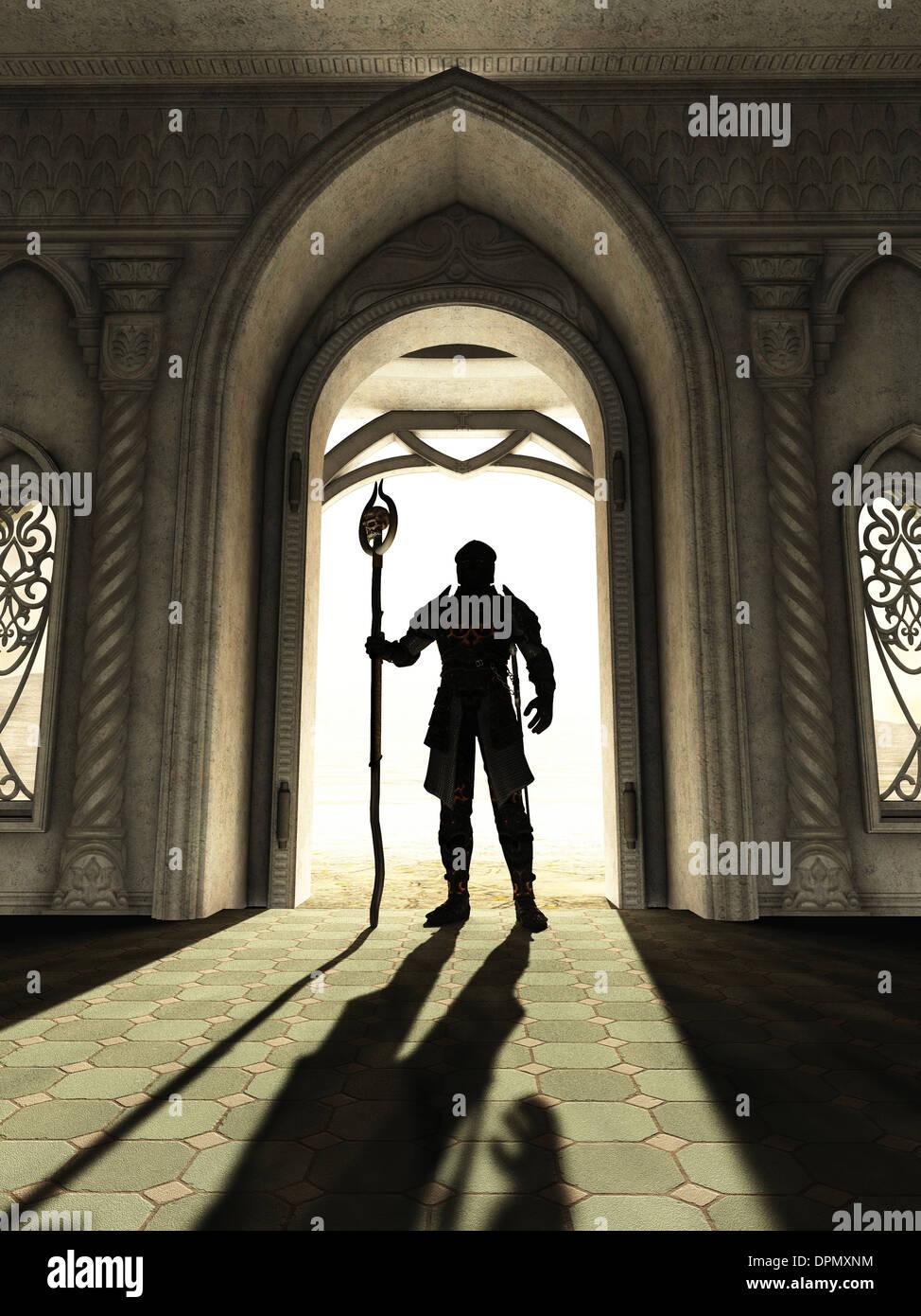 Señor oscuro en el umbral Foto de stock