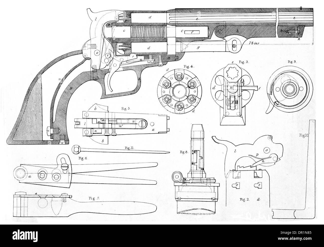 La patente de pistola colt de repetición en la sección transversal mostrando todas las piezas. circa 1889 Foto de stock