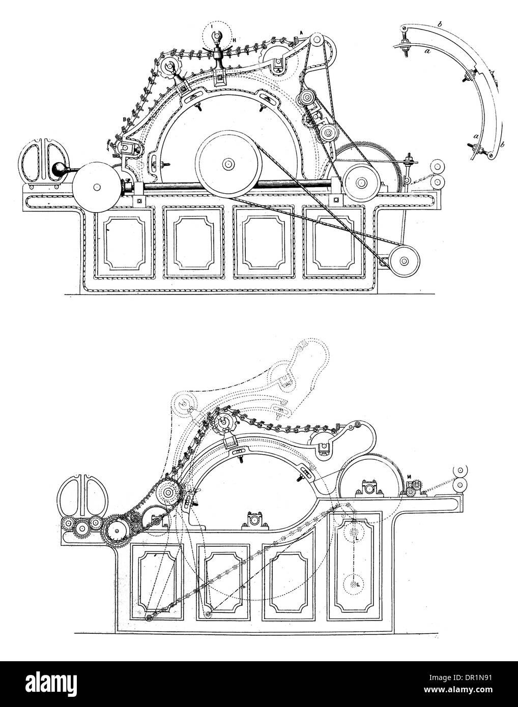 Leich patente Auto Motor pelado circa 1889 Foto de stock