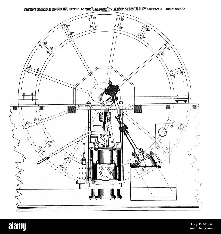 Los motores marinos de patentes montado en el Cricket por Mess'rs W Joyce & Co Greenwich Iron Works Foto de stock