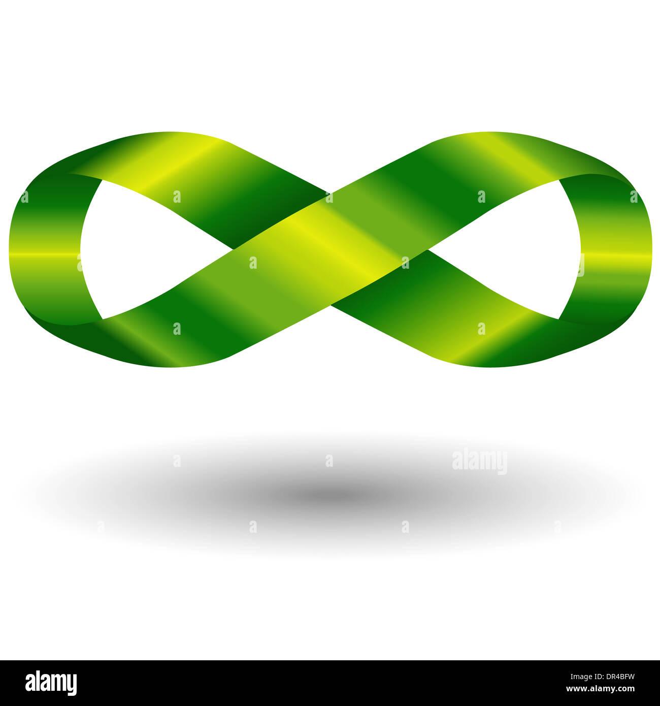 El símbolo de infinito verde Foto de stock