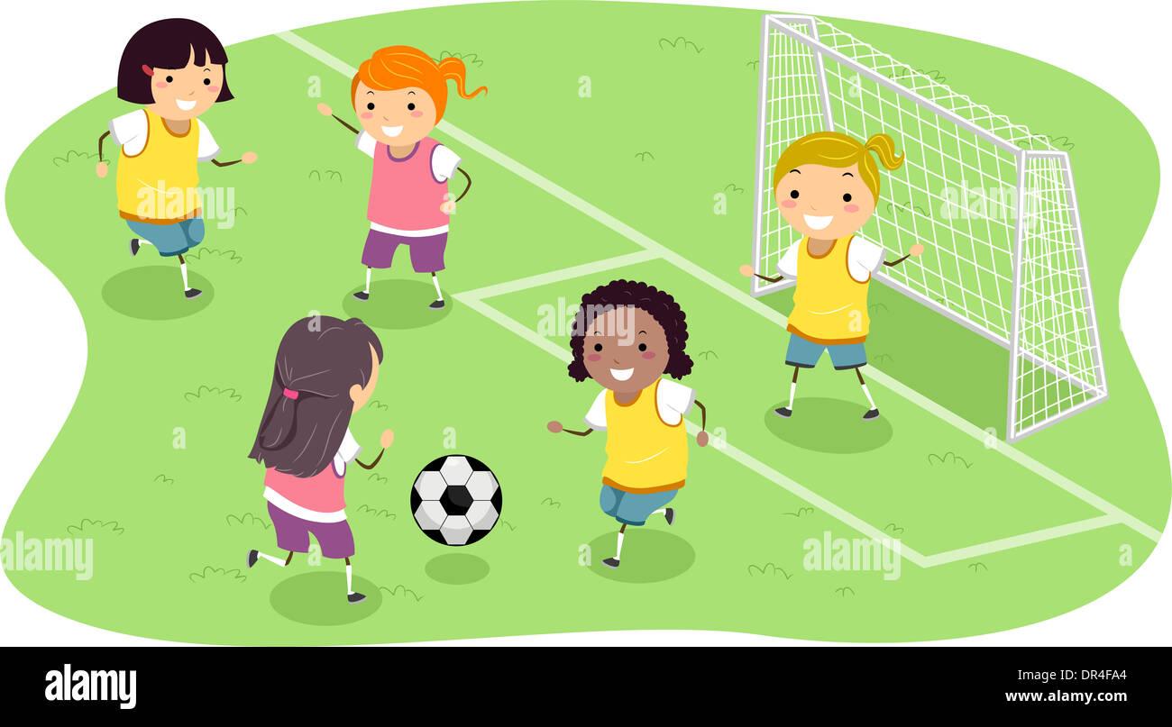 Stickman Ilustración Con Un Grupo De Niñas Jugando