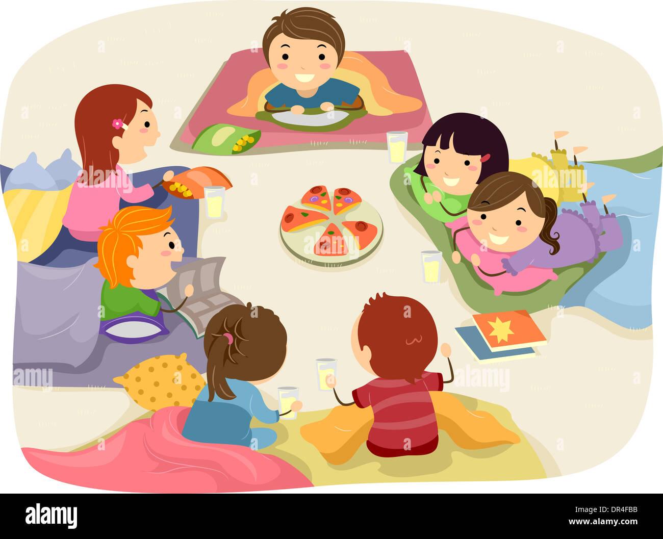 0f9196043 Stickman ilustración con niños conversando mientras estaba comiendo en un  sleepover
