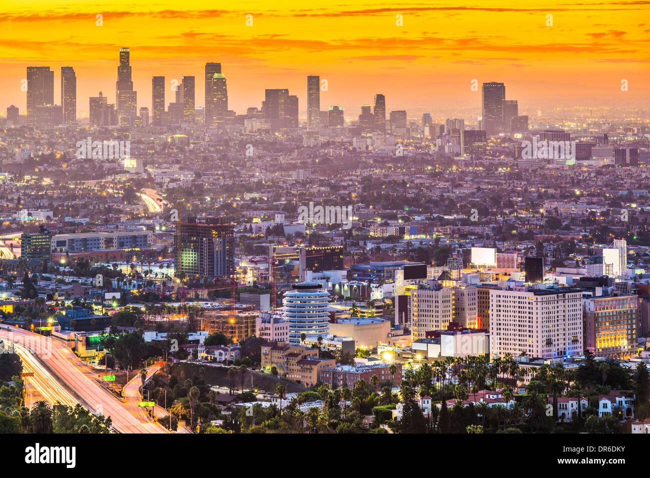 Los Angeles, California, EE.UU. mañana temprano en el centro ciudad. Foto de stock