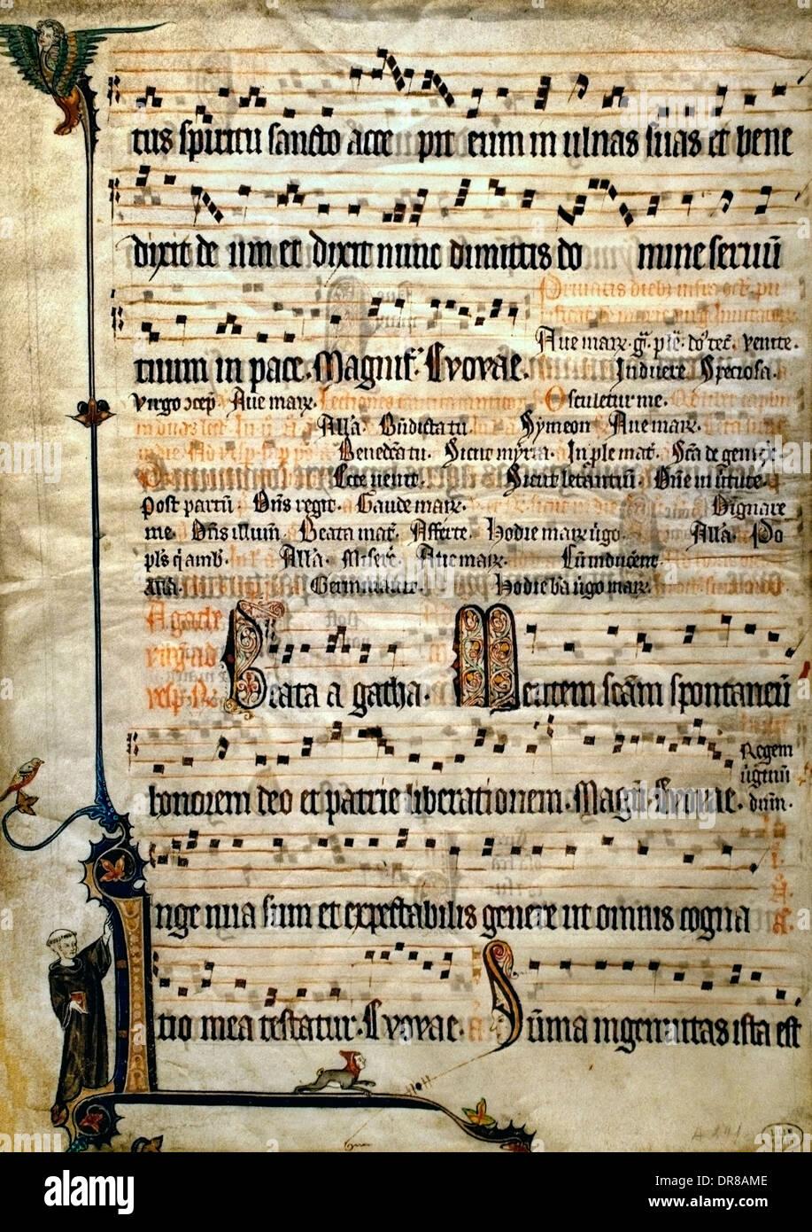 Hoja de un antiphonal flamenca de Flandes Brujas o Gante 1310-1320 Festivales de purificación y Santa Águeda ( Bélgica ) Belga Imagen De Stock