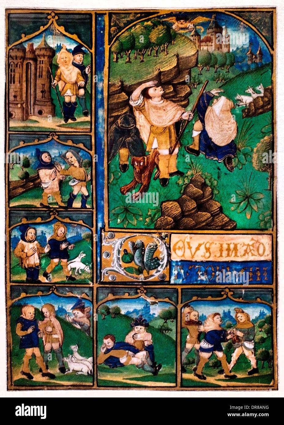 Horas de la hoja. Maestro de la Apocalipsis Aymar de Poitiers (1480-1490) active Dauphine. La Anunciación a los pastores Imagen De Stock