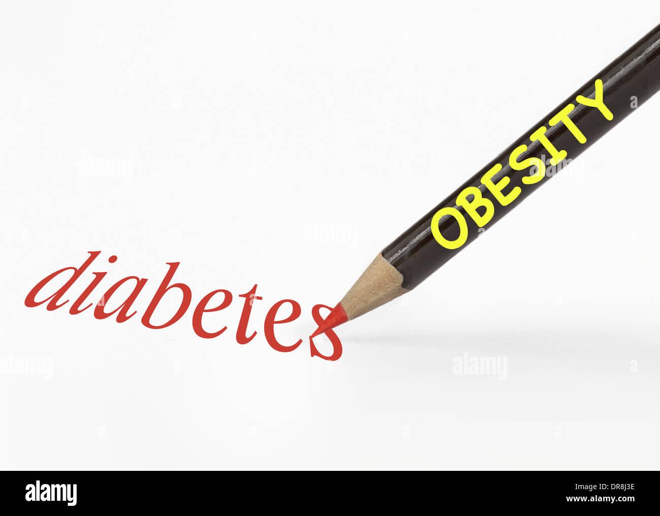 Idea de la obesidad conduce a la diabetes con un lápiz analogía Imagen De Stock