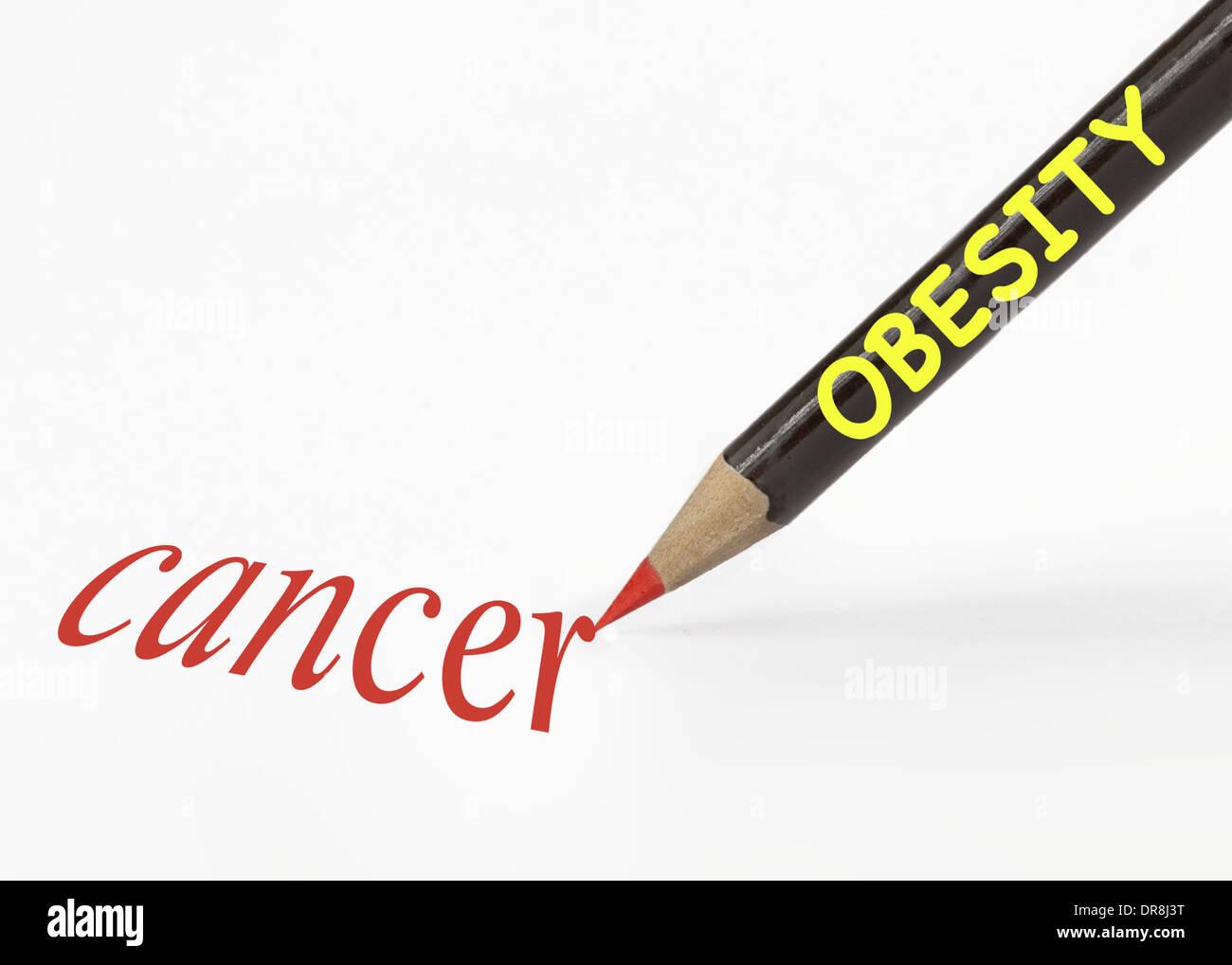 Idea de la obesidad conduce al cáncer utilizando un lápiz analogía Imagen De Stock