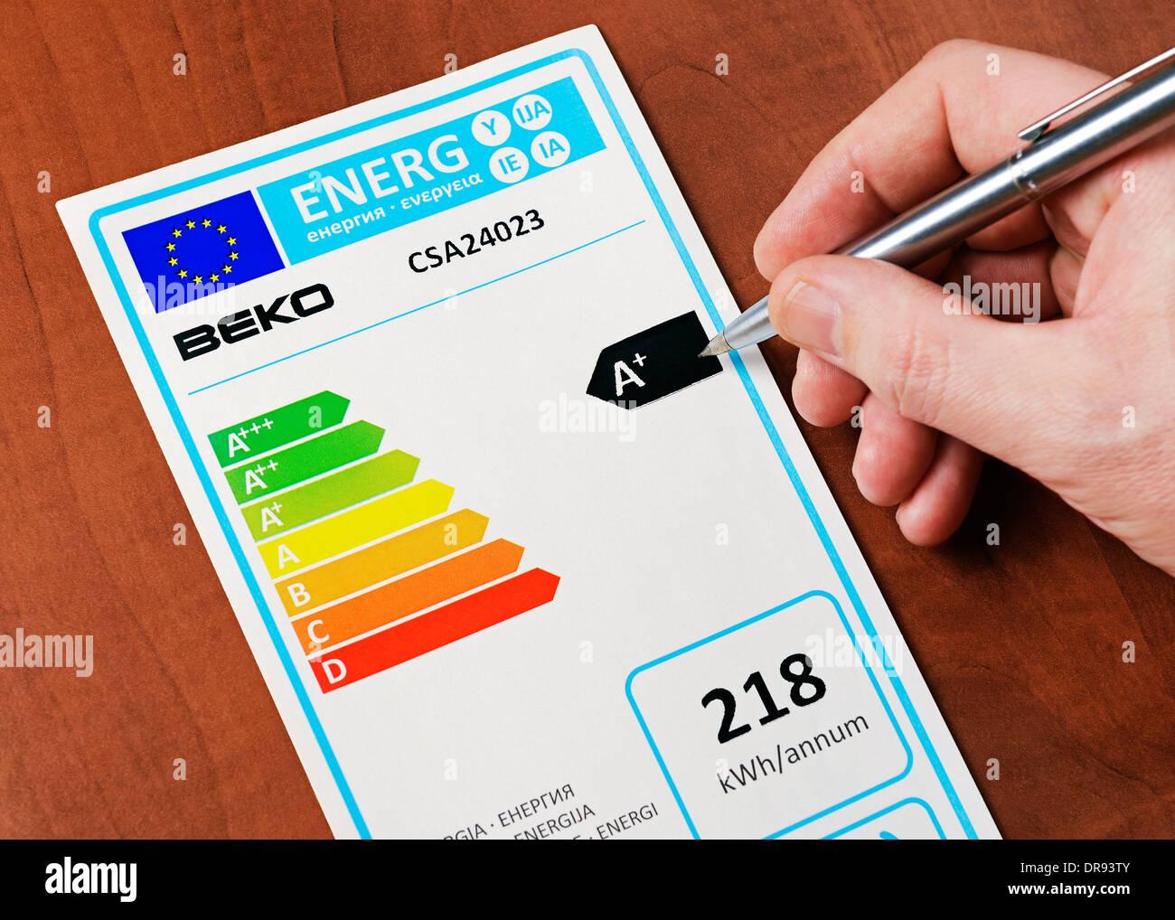 Etiqueta de consumo de energía de la Unión Europea. Imagen De Stock