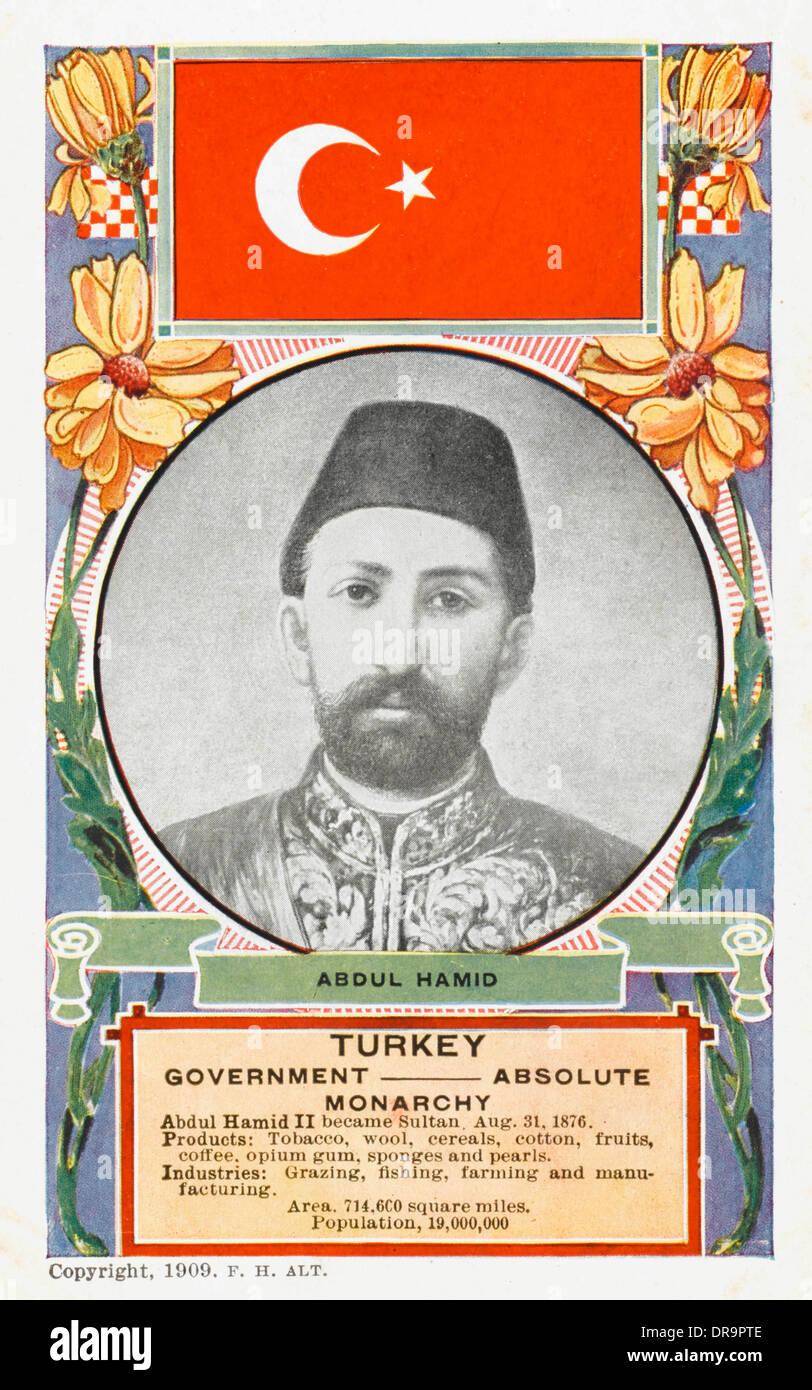 El Sultán Abdul Hamid II de Turquía - La propaganda turca Foto de stock
