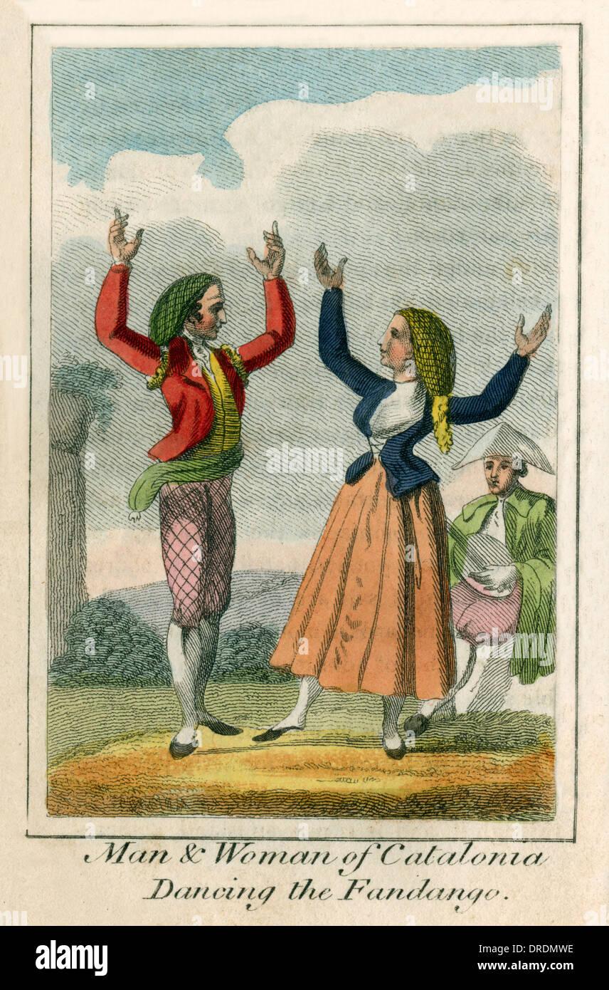 Bailando el fandango, Cataluña (España). Imagen De Stock