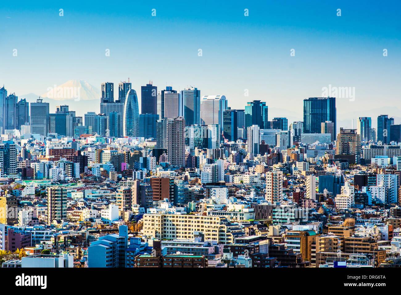 A Shinjuku de Tokio, Japón con Fuji una montaña en el horizonte. Imagen De Stock
