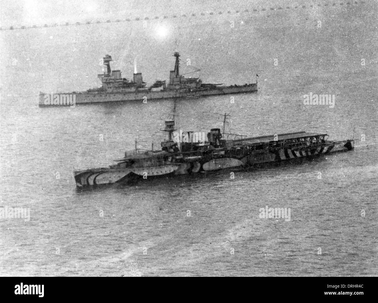 HMS vengativo portaaviones, WW1 Foto de stock