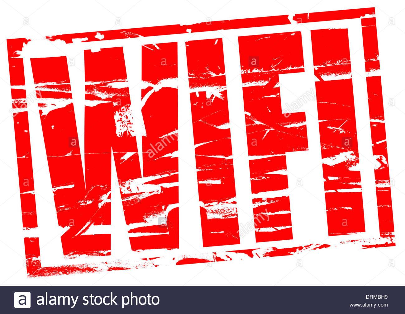 Composición digital Wifi efecto sello de goma roja Imagen De Stock