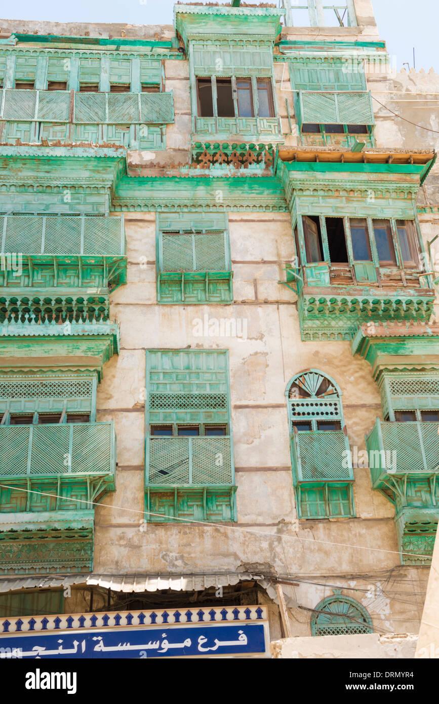 Detalle de edificios en Al Balad (Casco Antiguo), Jeddah, Arabia Saudita, Sitio del Patrimonio Mundial de la UNESCO Imagen De Stock