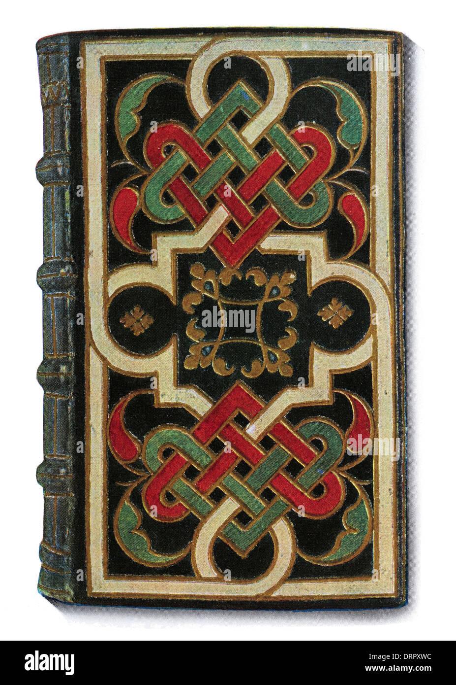 La Lyonnaise de encuadernación de cuero de diseño entrelazado celta portada XVI siglo xvi Imagen De Stock