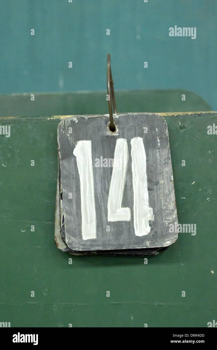 La etiqueta del número, catorce Imagen De Stock