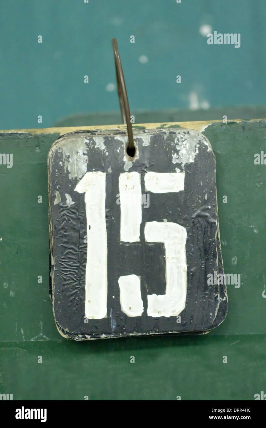 La etiqueta del número, quince Imagen De Stock